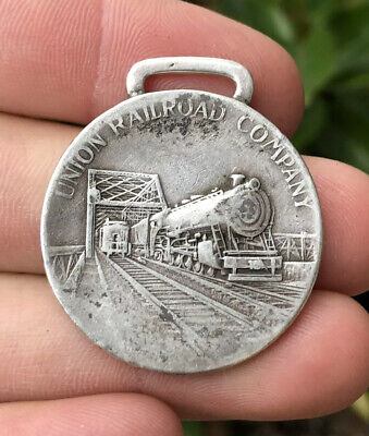 Antique Union Railroad Rr Co. Sterling Silver 30 Years Service Fob Medal