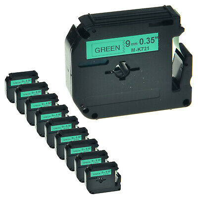 """1PK 9mm M-K721 MK721 Black On Green Label Tape For Brother P-touch PT-65VP 3//8/"""""""
