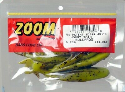 """Lot 3 Zoom Bait 083-040 Horny Toad 4/"""" White 5 Pack Fishing Soft Plastic Lure"""