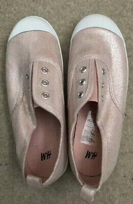 H&M Girls' Canvas Slip on Shoes - Pink Sparkly  - Size 1 (Eur 33) - Nearly New