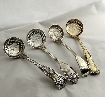 Stunning Quartet Of Solid Silver Sugar Sifter Spoons All By George Adams