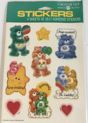 """CARE BEARS VINYL STICKER POSTER FORGET ME NOT AMERICAN GREETINGS 1984 13/""""X16.75/"""""""
