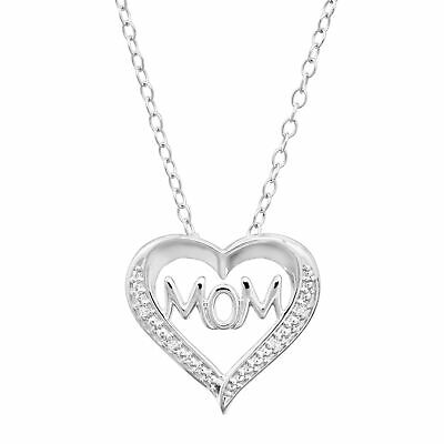 """'Mom' Open Heart Pendant with Diamonds in Sterling Silver, 18"""""""