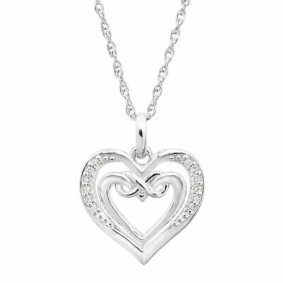 """Open Double Heart Pendant with Diamonds in Sterling Silver, 18"""""""