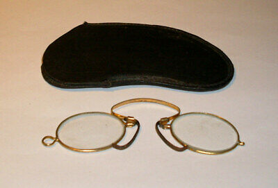 ((#152a) Antique/Vintage Wire Rim OVAL Eye Glasses With Hard Case 1800,s to1900s