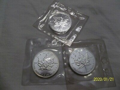 Three (3) 1989, Canadian, 1 Oz., .9999 Silver Maple Leaf Coins, Gem Bu, In Ogp