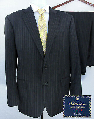 Brooks Brothers 1818 Madison Suit 43R Estrato Wool Gray Brown Striped Pant 36x31