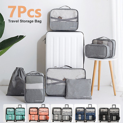 Packing Cubes Travel Pouches Luggage Organiser Clothes Suitcase Storage Bag 7Pcs