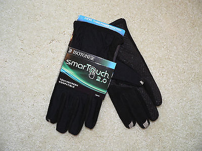 New Men's Medium Isotoner Black SmarTouch Touchscreen Compatible Gloves  Reg $45