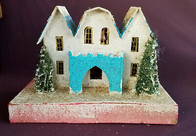PUTZ Estate House Vintage 1930's Made in Japan Coconut Roof Base 2 Loofah Trees