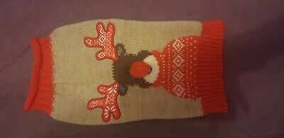 UK Dog Pet Rudolph Jumper Sweater Clothes Knitwear Coat Apparel XS
