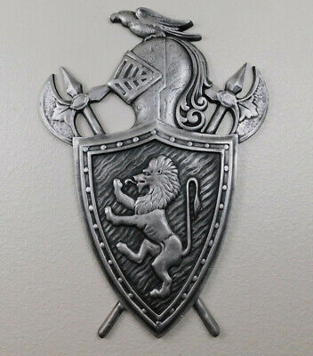 Shield wall plaque SILVER, Metal Art, Lion, Coat of Arms, Medieval Royal Knight