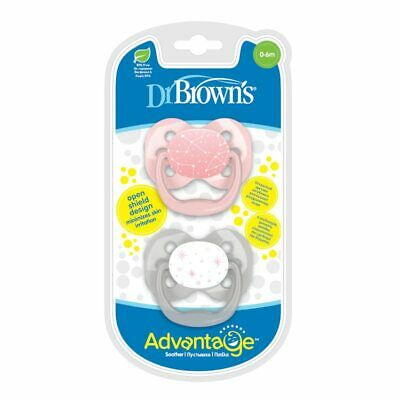 Dr Brown's Advantage Stage 1 Open Shield Soother 0-6 Months Pink