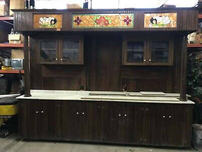 Ice Cream Parlor Back Bar With Leaded Glass