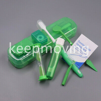 Boxed Dental Teeth Oral Cleaning Care Orthodontic Kits Brush Floss Thread Green