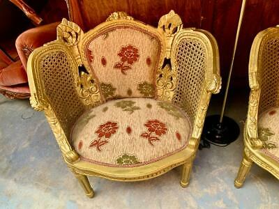 Antique French Louis Xv Style Double Rattan & Timber Armchair  Floral Upholstery