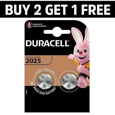 2 x Duracell CR2025 3V Lithium Coin Cell Battery 2025 DL/BR2025 Longest Expiry
