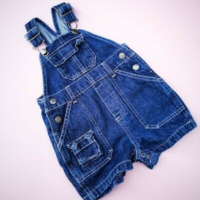 Vintage Baby Kids Cherokee Classic Blue Shortie Dungarees 6-9 M, retro kids