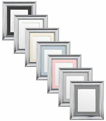 Scandi Silver Picture Photo Frames with White Black Ivory Blue or Pink Mounts