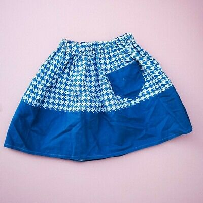 Vintage Kids 70s Houndstooth Blue Skirt 2-3 Y, retro kids, boho, mod