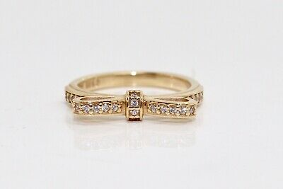 A Nice Authentic Pandora 14k 585 Yellow Gold Cubic Zirconia Ribbon Ring Size 48
