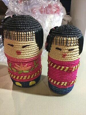2 Piece Woven Nested Basket Asian Dolls Set with lids