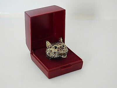 Gold Tone Bear / Fox Ring with Diamantes.size K / Biker / Goth .in Box