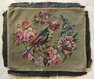 Antique Vintage late 19th /early 20th Century Parrot Tapestry seat cover