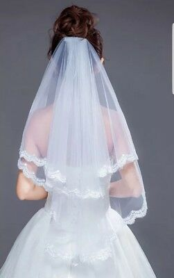UK White Ivory 2 Tier Elbow Length Bridal Wedding Veil Lace Edge With Comb