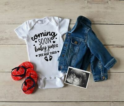 Personalised Baby Grow Vest Bodysuit Coming Soon Pregnancy Announcement Name