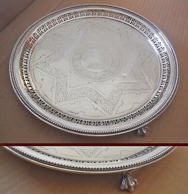 Mid-Victorian Sheffield Silver Plated Claw Footed Tray-James Dixon  %