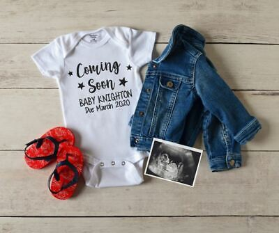 Personalised Baby Grow Vest Bodysuit Coming Soon Pregnancy Announcement Name #
