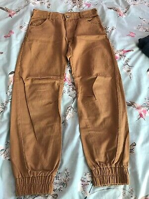 Boys Brown/mustard Coloured Cuffed Leg Jeans Size 10-11