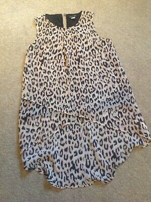 River Island Girls Leopard Animal Top Tunic Dress Age 10 Next Day Post Worn Once