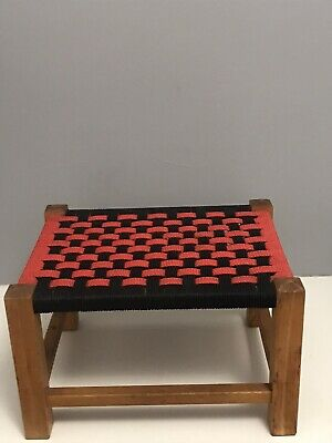 Vintage/ Retro Woven Red And Black Chequer Board  Foot Stool