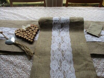 7 Hessian and lace wedding table runners (Incl top table) + decorations