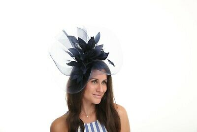 New Ladies Outdoor Occasion Wedding/Races Formal Navy Fascinator F3471
