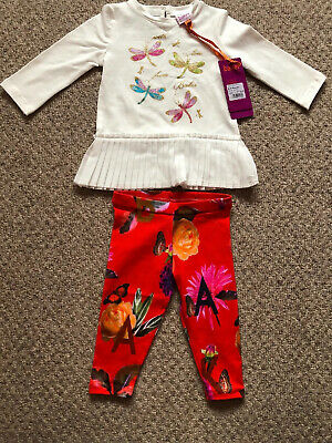 New Ted Baker Baby Girls 2pcs Outfit Set Top And Leggings Size 6-9 Months