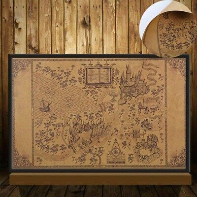 """World Harry Potter 20""""x 13""""Map of The Wizarding Poster Retro Wall Paper Decor"""