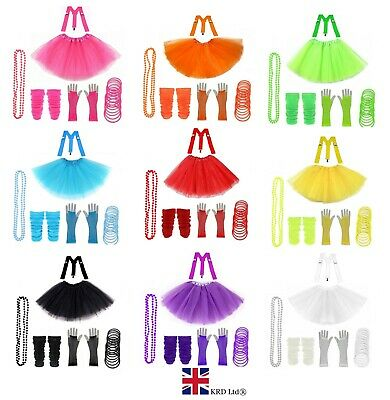 NEON FANCY DRESS COSTUMES 80s Hen Party Set Tutu Skirt Leg Warmer Gloves BraceUK