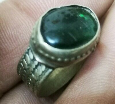 LATE MEDIEVAL SILVERED RING-RARE DARK GREEN STONE INTAGLIO inner 19mm