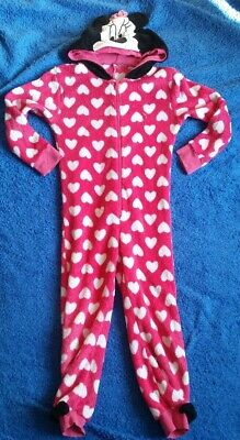 Minnie Mouse Disney All In One Fleece 5-6 Years Pink Hearts Hood