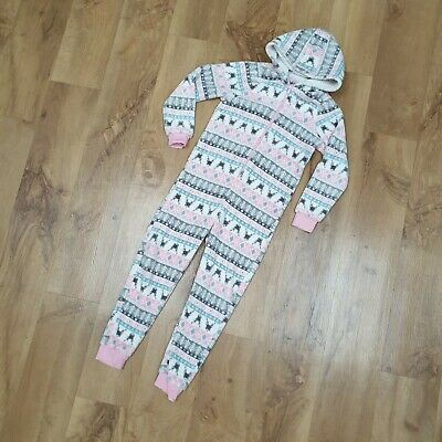 Girls pyjamas onesie stags One Piece age 10 winter xmas not gerber Matalan pink