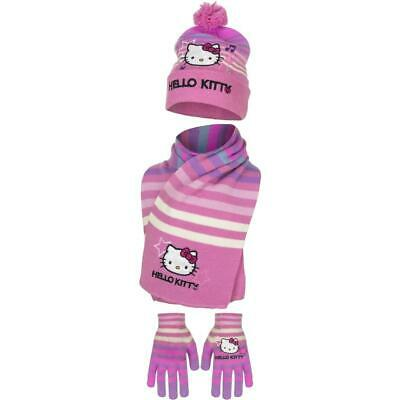 Hello Kitty Girls Hat Scarf and Gloves Set