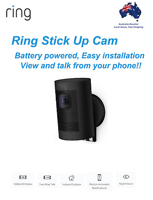 Ring Stick Up Cam Battery Wireless HD 1080p Outdoor Security Video Camera BLACK