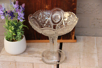 French vintage Crystal glass clear cut centerpiece fruit bowl