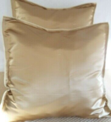 .£12.99 For A Pair Of  Extra Large Giant Cushions Antique Gold Thick Woven Satin