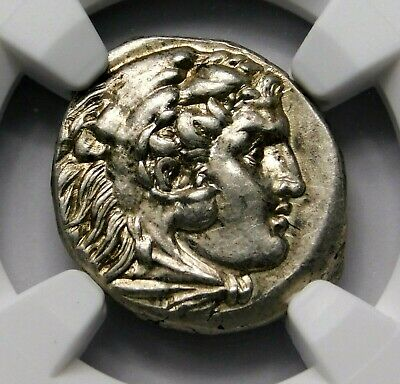 NGC Ch AU 5/5-4/5 Alexander the Great. Lifetime Issue Drachm. Greek Silver Coin.