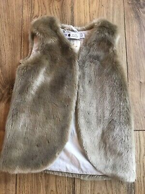 Marie Chantal For M&s Girls Brown Faux Fur Gilet 3-4 Barely Worn