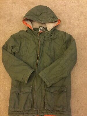 Fatface Green With Orange Trim Parka Age 12-13 Years